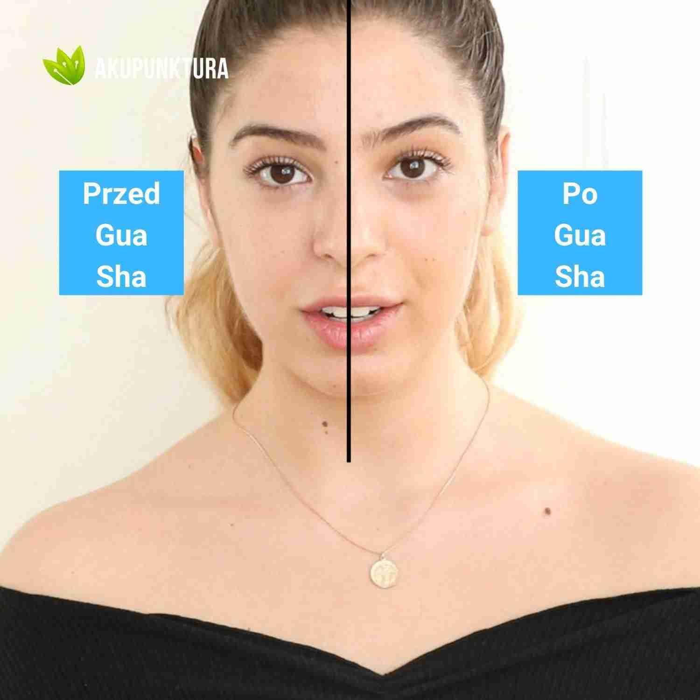 gua sha kobieta przed i po